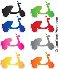 motorbike tag - colorful motorbike tags isolated white...