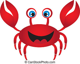 red crab cartoon isolated over white background. vector