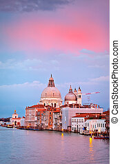 Basilica of Santa Maria della Salute at sunset, Venice