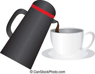 coffee cup and thermos - black thermos and coffee cup...