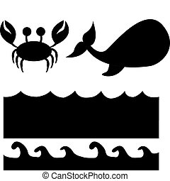 animals silhouette - animals and sea silhouette isolated...