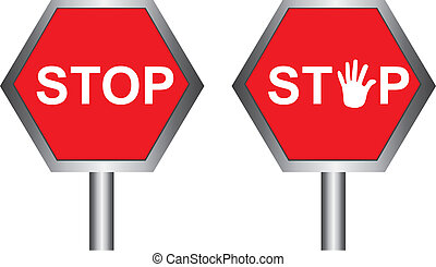 stop sign - red stop sing with hand isolated over white...