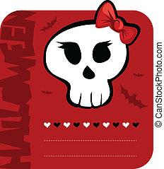 menina, dia das bruxas, Saudação, cartão, cranio
