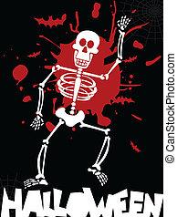 dia das bruxas, esqueleto, fundo, Dançar
