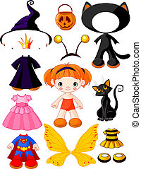 Girl with dresses for Halloween Pa - Paper Doll with three...