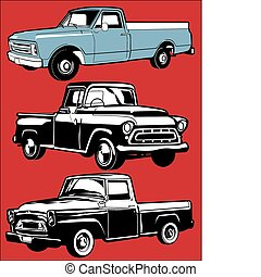 Vintage Trucks - Clip art set of various antique trucks