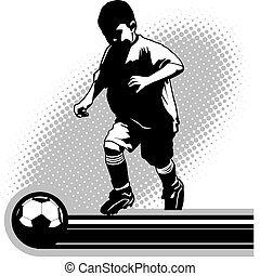 Youth Soccer Player - Shadowed youth sports player with ball...