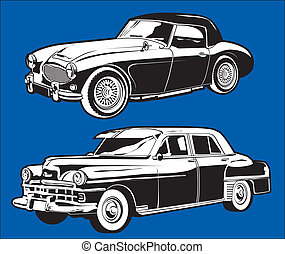 Vintage Cars - Clip art set of two antique cars