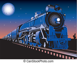 Twilight Train - A train running through the desert at night