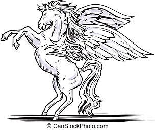 Pegasus - White rearing pegasus