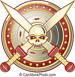 Gladiator Gear - Gladiator skull icon with shield and swords