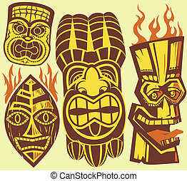 Tiki Masks - Brown and yellow tiki mask clip art collection