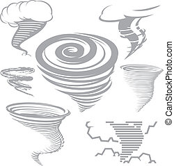 Tornado Collection - Clip art collection of various tornado...