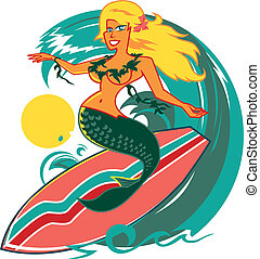 Surfer Mermaid - A tanned, surfing mermaid draped with...