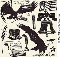 Woodcut Americana - Woodcut style clip art of old time...
