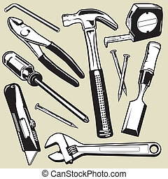 Hand Tools - A collection of various tools and hardware