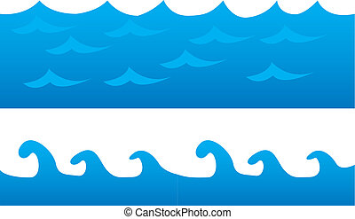 sea cartoon - blue sea cartoon isolated over white...
