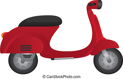 motorbike - red motorbike isolated over white background...