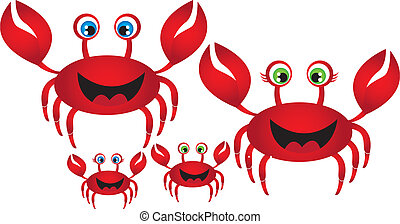 crab family - red crab family isolated over white...