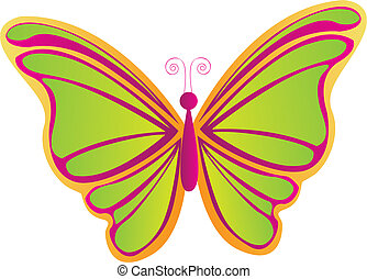 butterfly vector - beatiful butterfly isolated over white...