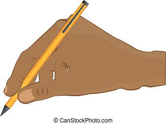 hand writing - black man hand writing with yellow pen...