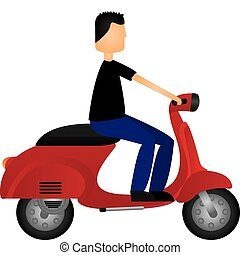 man on motorbike isolated over white background vector