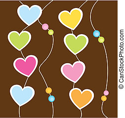hanging hearts - cute hanging hearts over brown background....