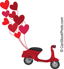 red motorbike with red balloons isolated over white...