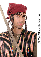 Pirate - Young man with sword dressed like a pirate