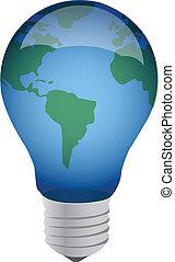 earth lightbulb illustration design