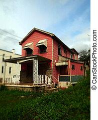 Old Pink House in Tilt Shift