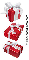 christmas presents - various type of red gift boxes isolated...