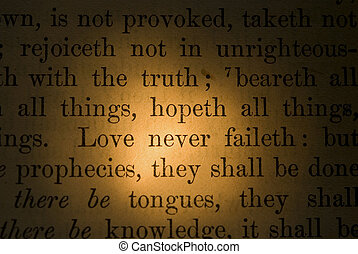 Scripture verse - Extreme close up of a Bible verse in sepia...
