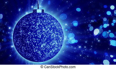 blue christmas ball close-up loop - computer generated...