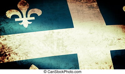 Quebec Flag Waving, grunge look