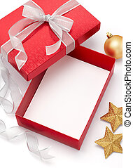 christmas gift - empty gift box with christmas ornaments on...