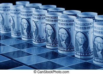 Money strategy concept with dollars as pieces on chess board...