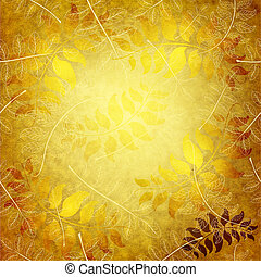 Paper with gold leaves - Old yellow grunge wallpaper with...