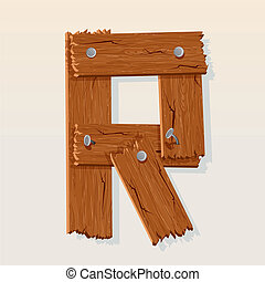Letter R From vector Wooden Alphabet