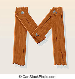 Letter M From vector Wooden Alphabet