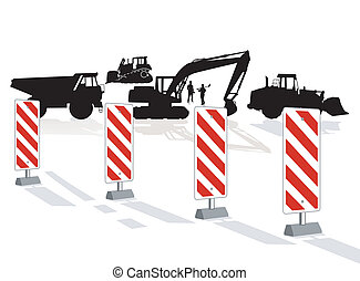 Road construction and road block
