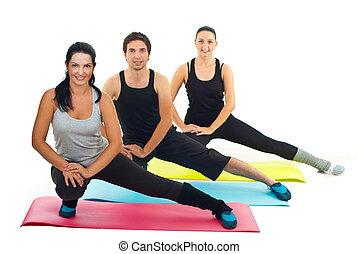 Healthy group of people doing fitness exercises - Healthy...