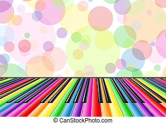 Musical background with a piano keyboard and bubbles