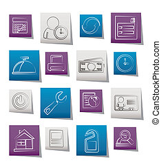 reservation and hotel icons - vector icon set