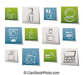 Cosmetic Industry and beauty icons - vector icon set