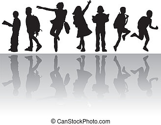 silhouettes people collection - to be used as background,...