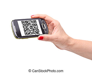 qr code on smartphone - hand holding smartphone with qr code
