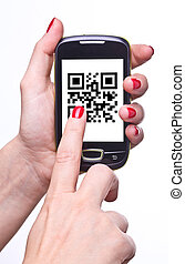 qr code - hand holding smartphone with qr code