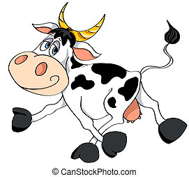 White cow. - Cartoon white cow runs. Vector illustration....