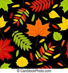 Autumn leaves on the black Seamless pattern Vector...